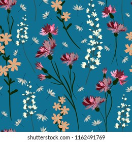 Field-flowers, leaves and herbals vector seamless pattern. Blue