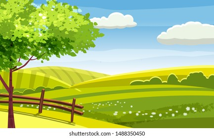 Fields and hills rural landscape. Cartoon countryside valley with green hills trees flowers blue sky and curly clouds. Vector nature horizon pasture view isolated background