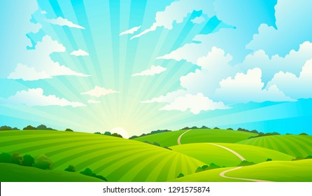 Fields landscape. Scenic green hills nature sky horizon meadow grass field rural land agriculture grassland. Summer vector background
