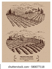 Fields and mountains landscape, hand drawn vector illustration