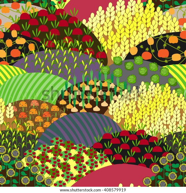 Fields Seamless Pattern Different Agricultural Cultures