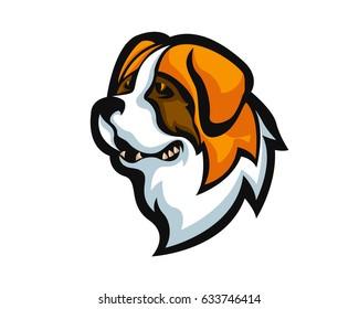 Fierce Angry Dog Character Logo - Saint Bernard