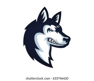 Fierce Angry Dog Character Logo - Siberian Husky