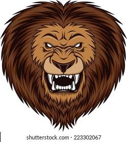 Fierce lion head, vector illustration