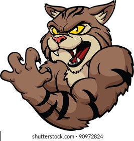 Fierce looking wildcat mascot. Vector illustration. All in a single layer.