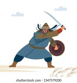 Fierce medieval warrior in battle. Historical illustration. Isolated vector flat illustration