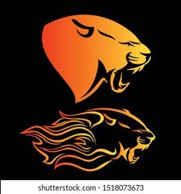 fierce panther head among fire flames - blazing leopard vector profile design