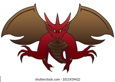 A fierce red dragon with yellow eyes is flying toward the viewer