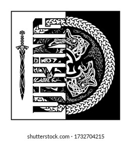 Fierce wolf symbol of a Viking. Totemic animal of Celts. Traditional circular pattern. Poster in Nordic style. Illustration of Scandinavian myths for t shirt print. Triskelion. Triskele.