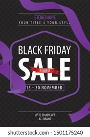 Fiery black friday sale design. Flyer template - Vector