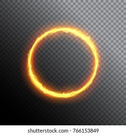 Fiery circle. Round neon frame. Fire burning ring. Magic gold circle light.