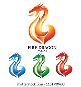 Fiery Dragon Logo Vector Concept Design