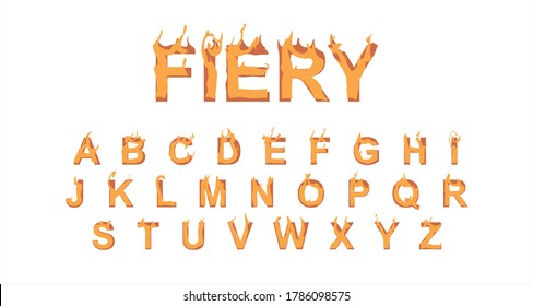 Fiery font. Burning text, inscription. Burning letters, English alphabet. Set of fire letters from A to Z vector graphics. Can be used for poster, print, postcard. Design, Calligraphy. Isolated