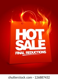 Fiery hot sale design with shopping bag. Eps10 Vector.