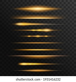 Fiery light flares, glowing sunbeams or rays effect set. Energy burst, flying comet or burning meteorite tale, sunset shine edge 3d realistic vector. Magical shine, fantasy glow lines design element