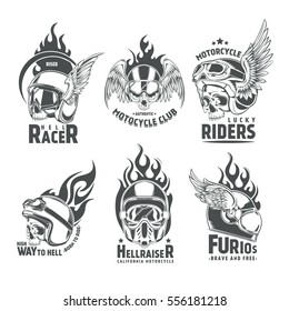 Fiery motorcycle skull helmet logotypes for clubs and communities design in vintage style isolated vector illustration