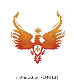 fiery phoenix with the Imperial crown on his head
