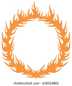 fiery ring burning (hoop in the fire vector illustration)