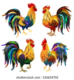 Fiery Rooster the symbol of the Chinese New Year 2017. Collection Colored Roosters  isolated on white. Vector illustration.