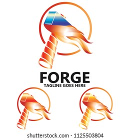 Fiery Sledge Hammer Tool Logo Design