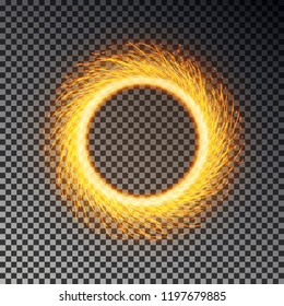 Fiery sparks circle effect isolated on background. Sparkler ring vector. Magic round sparkle, fierly flame frame. Vector illustration.