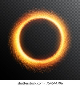 Fiery sparks circle. Sparkler ring. Round sparkle frame.