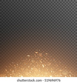 Fiery sparks. Glowing particles. Vector effect with transparency.