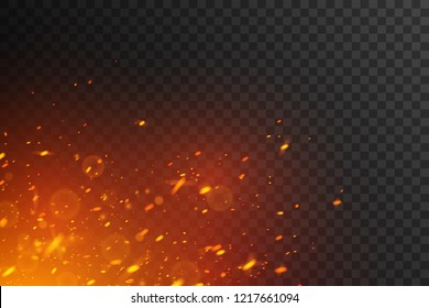 Fiery sparks on transparent background. Glowing particles.