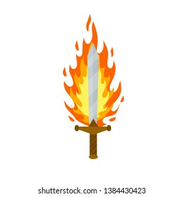 Fiery sword. Magic weapon of knight, sorcerer, magician. Fire spell. Burning blade. The medieval element of game. Dangerous hotter the flames.