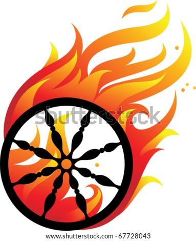 Drawing fiery wheel on a black