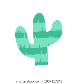 Fiesta cactus pinata illustration for kids play cartoon vector illustration mexican traditional