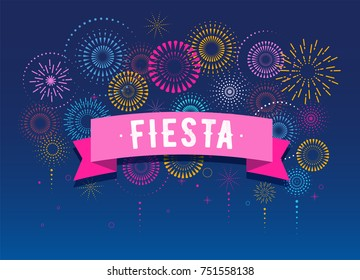 Fiesta, Fireworks and celebration background, winner, victory poster, banner