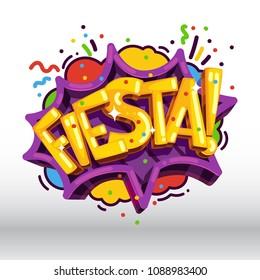 Fiesta inscription holiday party vector illustration