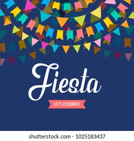 Fiesta poster design with flags, decorations and promotion banner