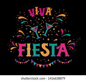 Fiesta sign, emblem, logo. Poster, banner, card design. Vector illustration with Fiesta text