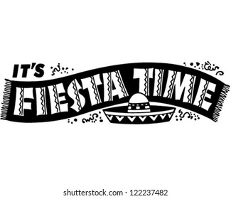 Fiesta Time Banner - Retro Clipart Illustration