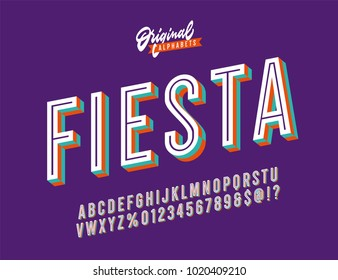"""Fiesta"" Vintage 3D Inline Condensed Alphabet with Funky Bright Colors. Nostalgic Old School Retro Typography. Vector Illustration."