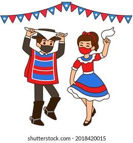 Fiestas Patrias 2021, Chilean national holiday. Cute cartoon children dancing Cueca in face masks due to Covid. Vector illustration.