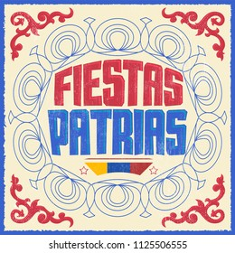 Fiestas Patrias, National Holidays spanish text, Colombia theme patriotic celebration vintage banner, Colombian flag colors