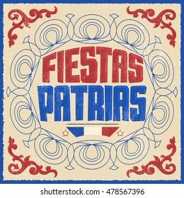Fiestas Patrias - Texto de las Fiestas Nacionales en español, tema de Chile, banner de celebración patriótica, color de la bandera chilena