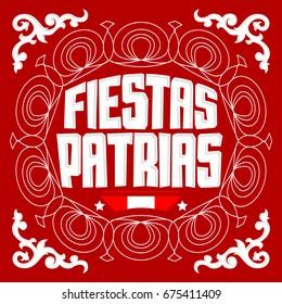 Fiestas Patrias - National Holidays spanish text, Peru theme patriotic celebration banner, Peruvian flag color