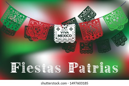 Fiestas Patrias vector. Mexican National Holidays. Spanish text. Independence day celebration. Viva Mexico.