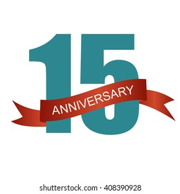 Fifteen 15 Years Anniversary Label Sign for your Date. Vector Illustration EPS10