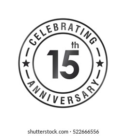 Fifteen anniversary celebration logotype. 15th anniversary logo collection. Anniversary label. Anniversary logo template. Anniversary sign. Vector Illustration