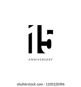 Fifteen anniversary, minimalistic logo. Fifteenth years, 15th jubilee, greeting card. Birthday invitation. 15 year sign. Black negative space vector illustration on white background