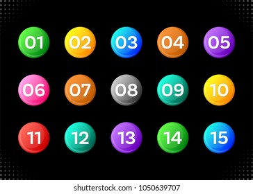 Fifteen colorful numbers icons on black background