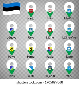 Fifteen flags the Counties of Estonia -  alphabetical order with name.  Set of 2d geolocation signs like flags Counties of Estonia.  Fifteen one 2d geolocation signs for your design. EPS10