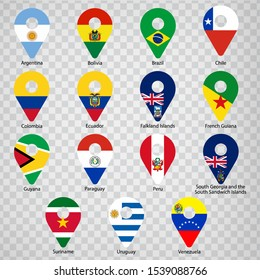 Fifteen Flags of South American countries - alphabetical order with name.  Set of 2d geolocation signs like national flags of South American. Fifteen geolocation signs. EPS10.