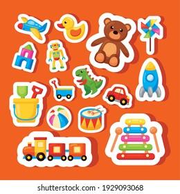 fifteen kids toys set icons