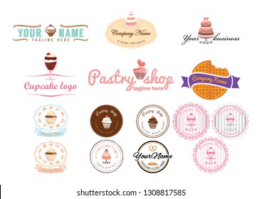 fifteen logos and labels with delicious cakes
